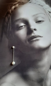 Swarovski crystal pearls sterling silver chain drop stud earrings