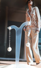 Load image into Gallery viewer, Swarovski crystal pearls sterling silver chain drop stud earrings