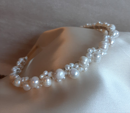 Freshwater pearls headband woven with silver or gold wires
