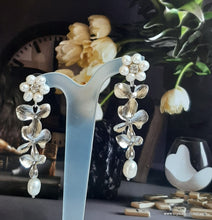 Load image into Gallery viewer, Freshwater pearls and gloss silver or gold tone triple orchid flower drop stud earrings