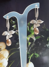 Load image into Gallery viewer, Sterling silver and cubic zirconia earwires, Swarovski crystal pearl and orchid flower drop earrings