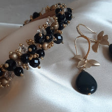 Load image into Gallery viewer, Black rainbow obsidian puffed teardrop bead and orchid flower drop earrings