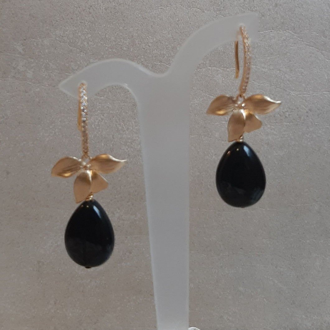 Black rainbow obsidian puffed teardrop bead and orchid flower drop earrings