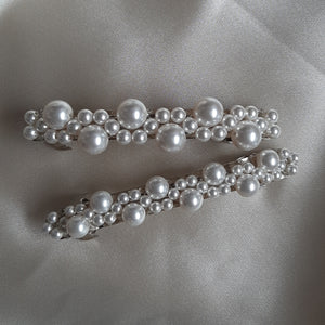 White Swarovski crystal pearls beaded hair clips