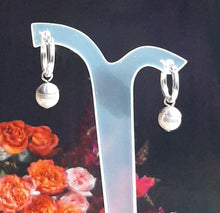 Load image into Gallery viewer, Swarovski crystal round pearl drop and 14mm sterling silver hoop earrings
