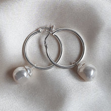 Load image into Gallery viewer, Megan - Swarovski crystal baroque pearl drop and 25mm sterling silver hoop earrings