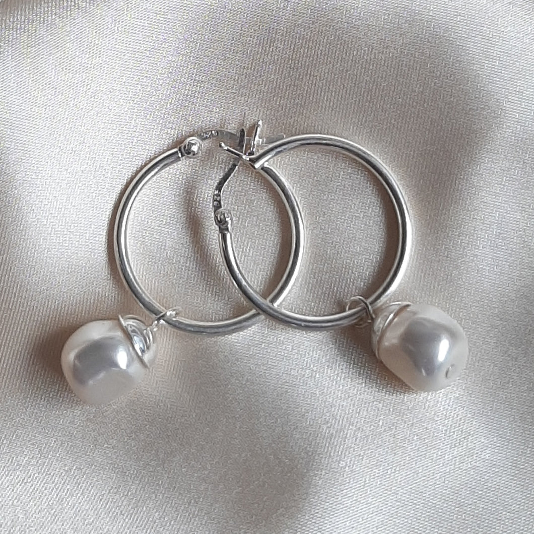 Megan - Swarovski crystal baroque pearl drop and 25mm sterling silver hoop earrings