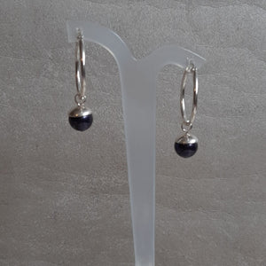Swarovski crystal pearl drop and 25mm sterling silver hoop earrings