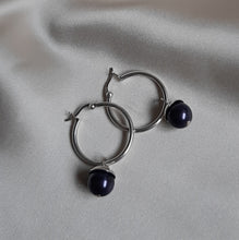 Load image into Gallery viewer, Swarovski crystal pearl drop and 25mm sterling silver hoop earrings