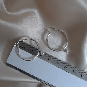 Swarovski crystal tiny pearl drop and 25mm sterling silver hoop earrings