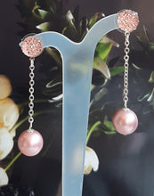 Load image into Gallery viewer, Swarovski crystal pearl bead and sterling silver chain drop stud earrings
