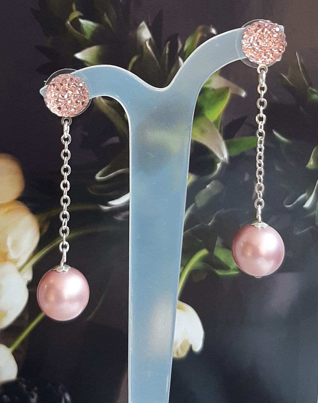 Swarovski crystal pearl bead and sterling silver chain drop stud earrings