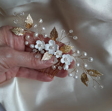 Load image into Gallery viewer, White flowers, freshwater pearls, crystal clear beads and gold or silver leaves symmetrical hair vine/comb
