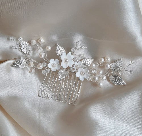 White flowers, freshwater pearls, crystal clear beads and gold or silver leaves symmetrical hair vine/comb