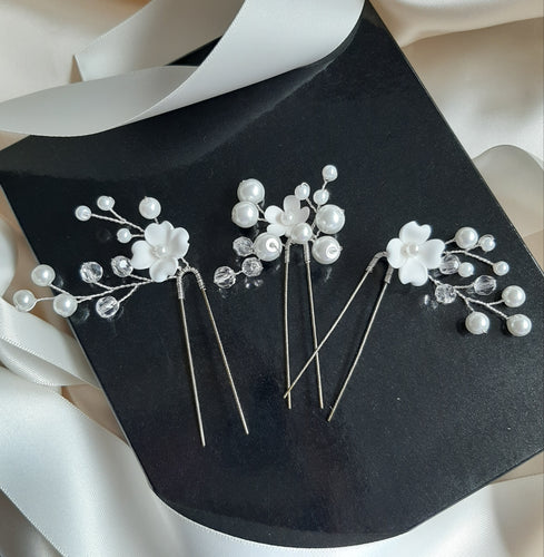 White flowers, glass bead pearls, and crystal clear faceted beads set of three hair pins