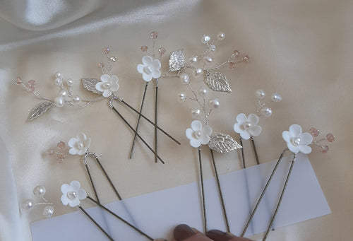 White polymer clay flowers with freshwater pearls and faceted beads HAIR PIN SETS