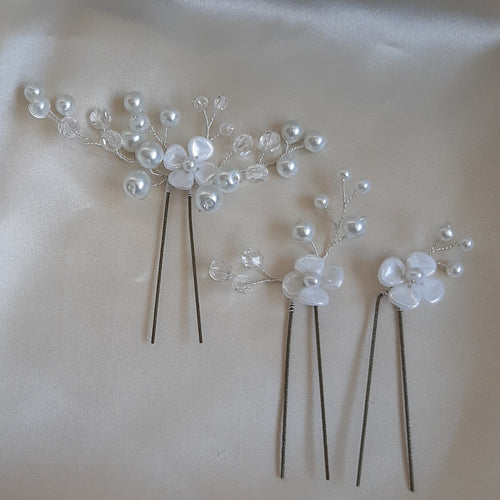 Pearlescent white and glass bead pearl centered flowers set of three hair pins
