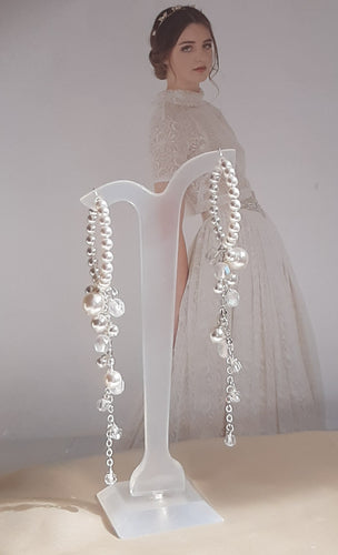 Swarovski crystal cascading pearls and 30mm sterling silver hoop earrings