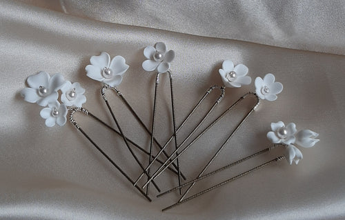 White polymer clay flowers HAIR PIN SET of 6