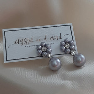 Rhinestone and Swarovski crystal pearls drop earrings and bracelets set