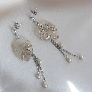Monstera leaf, cascading pearls and silver tone round glass bead drop stud earrings