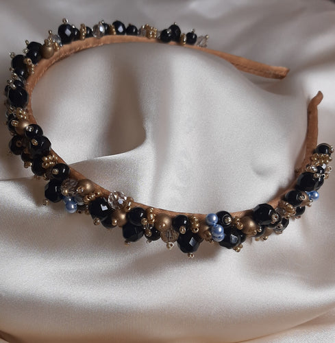 Black, honey crystal, gold and a touch of blue beads handmade headband