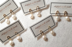 Freshwater pearls drop and gold-tone oval hoop earrings SML