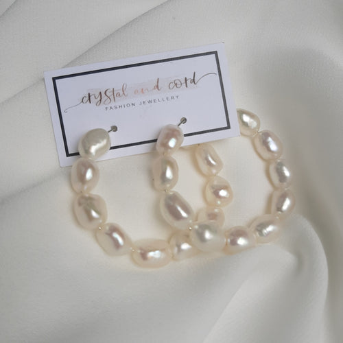 Layla - freshwater pearls natural oval bead hoop earrings