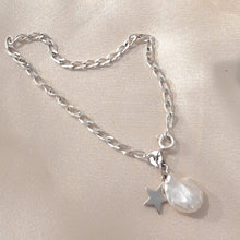 Load image into Gallery viewer, Sterling Silver curb chain, star and freshwater pearl charm bracelet