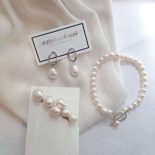 Traci - white cultured freshwater pearls, hoop earring SETS