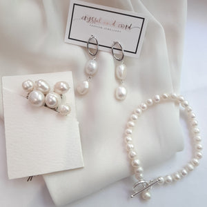 White cultured freshwater pearls, hoop earring SETS