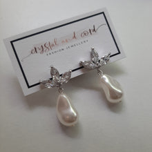 Load image into Gallery viewer, Swarovski crystal baroque pearl drop and cubic zirconia earstud