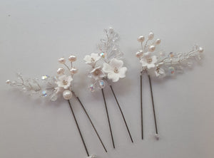 White flowers, crystal clear beads, and freshwater pearls set of three hair pins