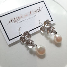 Load image into Gallery viewer, Silver-tone triple flower rhinestone centered pearl drop earrings