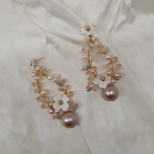 Constance - white and blush pink freshwater pearls and flowers oval hoop stud drop earrings