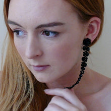 Load image into Gallery viewer, Black long cascading beaded statement stud earrings