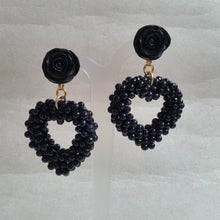 Load image into Gallery viewer, Black beads woven heart drop and flower stud earrings