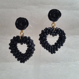 Black beads woven heart drop and flower stud earrings