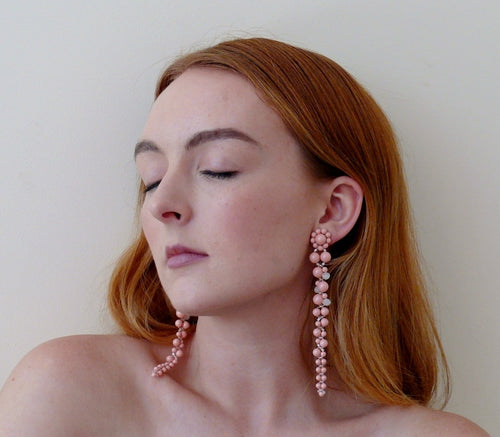 Coral pink Swarovski crystal pearl long cascading stud earrings