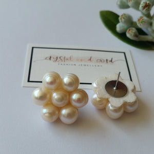 Freshwater pearls large flower shaped stud earrings