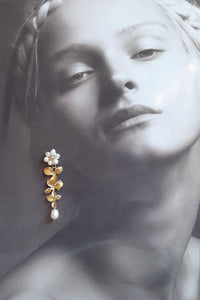 Freshwater pearls and gloss silver or gold tone triple orchid flower drop stud earrings