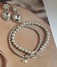 Load image into Gallery viewer, Silver grey glass bead pearls and Swarovski crystal pearls bracelet stack and heart drop earrings
