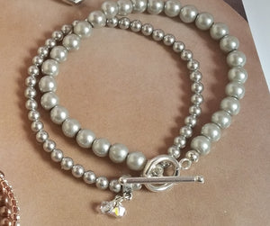 Silver grey glass bead pearls and Swarovski crystal pearls bracelet stack and heart drop earrings