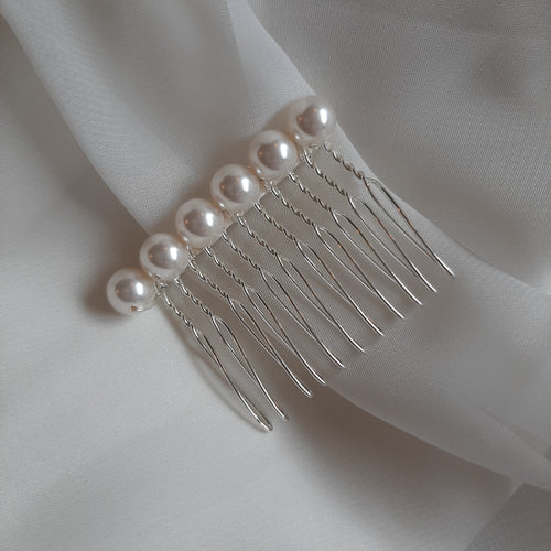 White Swarovski crystal pearls beaded hair COMBS in silver or gold tones