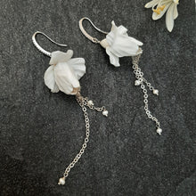 Load image into Gallery viewer, Iris flower short and long cascading earrings