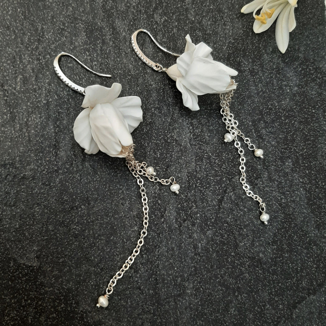 Iris flower short and long cascading earrings