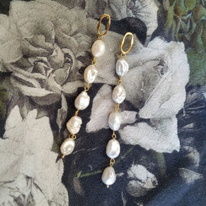 Freshwater pearls long cascading or short gold-tone bead earrings