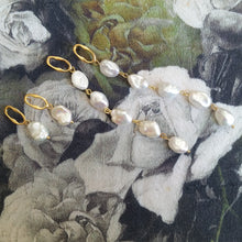 Load image into Gallery viewer, Freshwater pearls long cascading or short gold-tone bead earrings