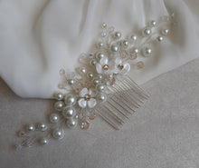 Load image into Gallery viewer, White pearls and flowers, crystal beads large size hair vine on silver comb