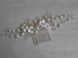 White pearls and flowers, crystal beads large size hair vine on silver comb